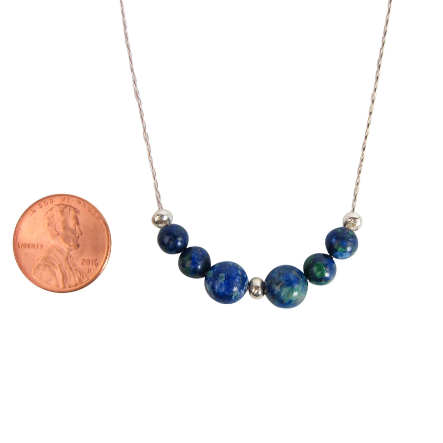 Earth On A Silver Chain Necklace - Handmade In Conifer Azurite Jewelry