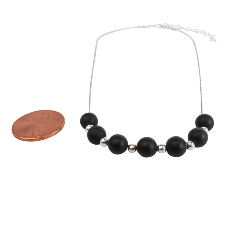 Black & Silver Matte Agate Necklace - Handmade In Conifer Jewelry