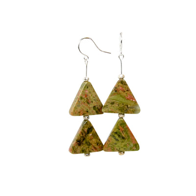 Unakite Triangles Sterling Silver Handmade Earrings