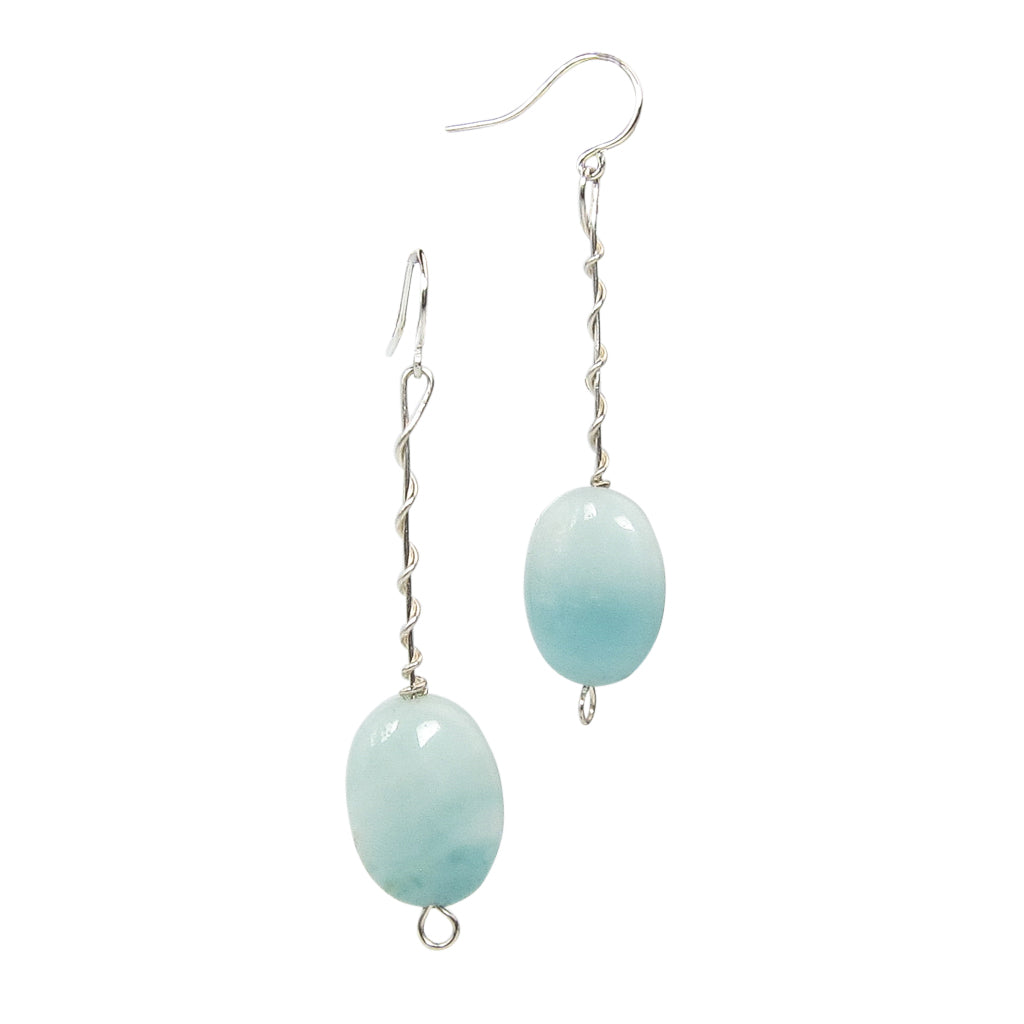 Seafoam Twist Around Earrings Sterling Silver Handmade