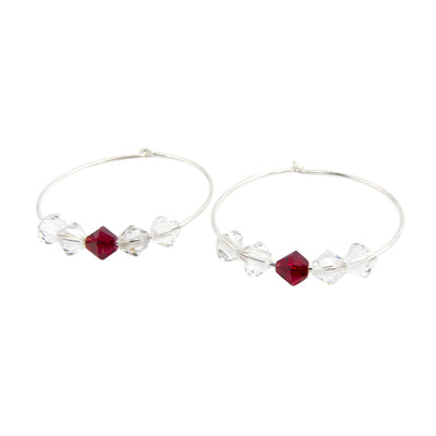 Swarovski Love - Silver Hoop Earrings Handmade In Conifer on their sides