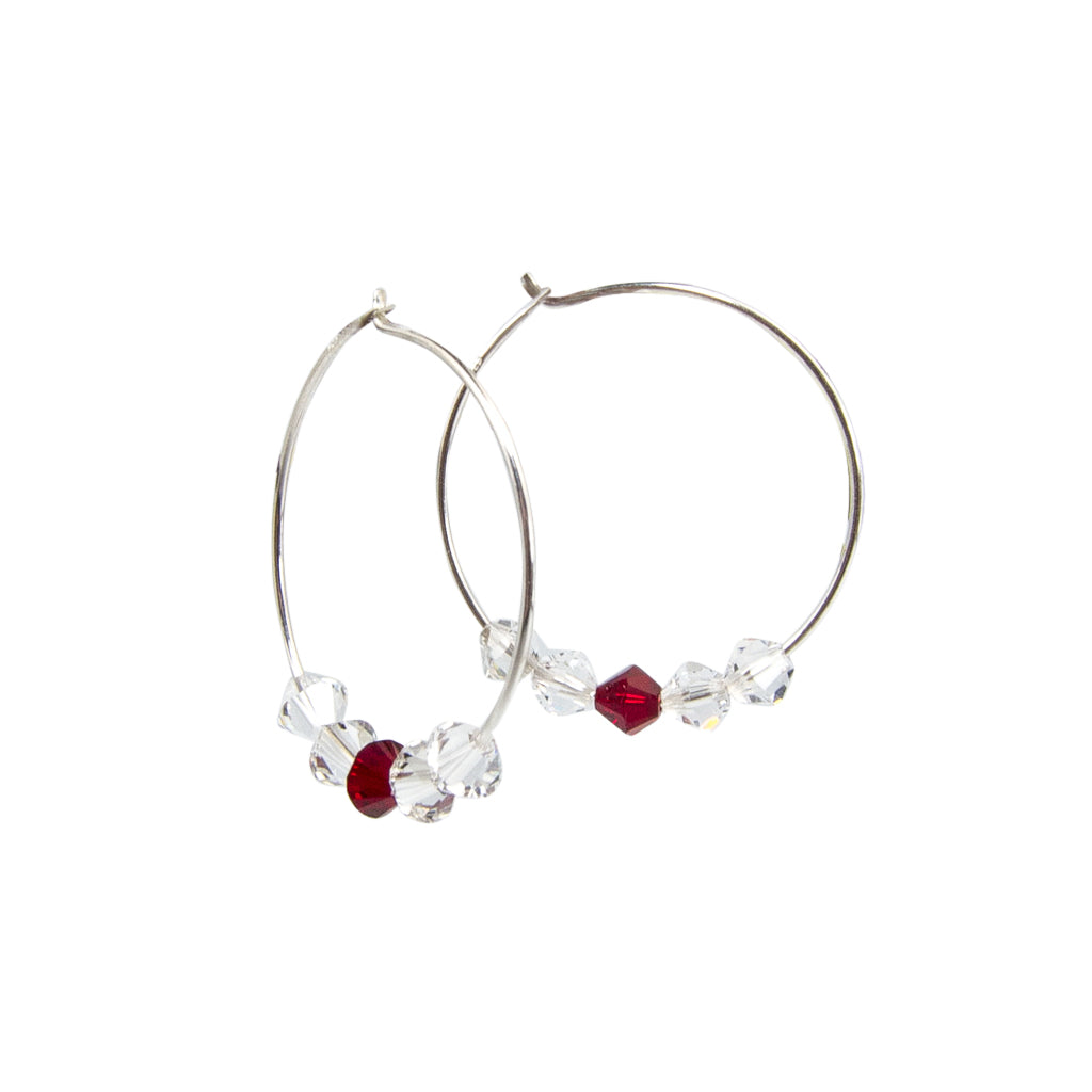 Swarovski Love - Silver Hoop Earrings Handmade In Conifer