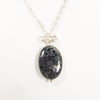 Iridescent Black Larvikite Pendant on Sterling Silver Necklace