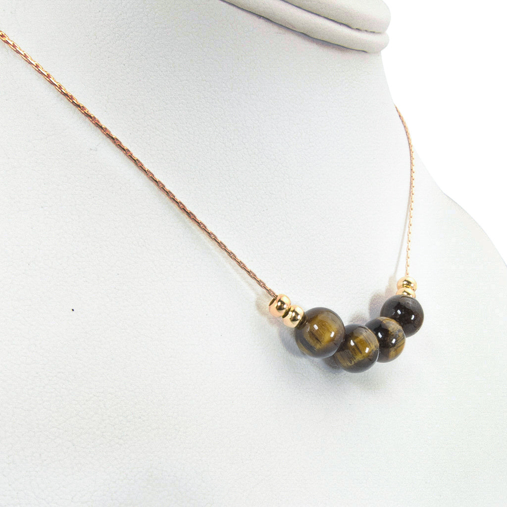 Stunning Tiger's Eye on Gold Handmade Necklace