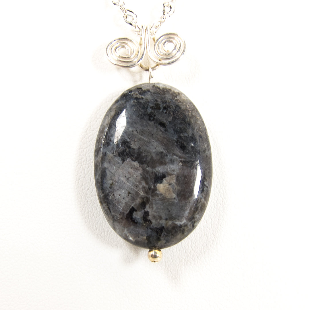 Iridescent Black Larvikite on Sterling Silver