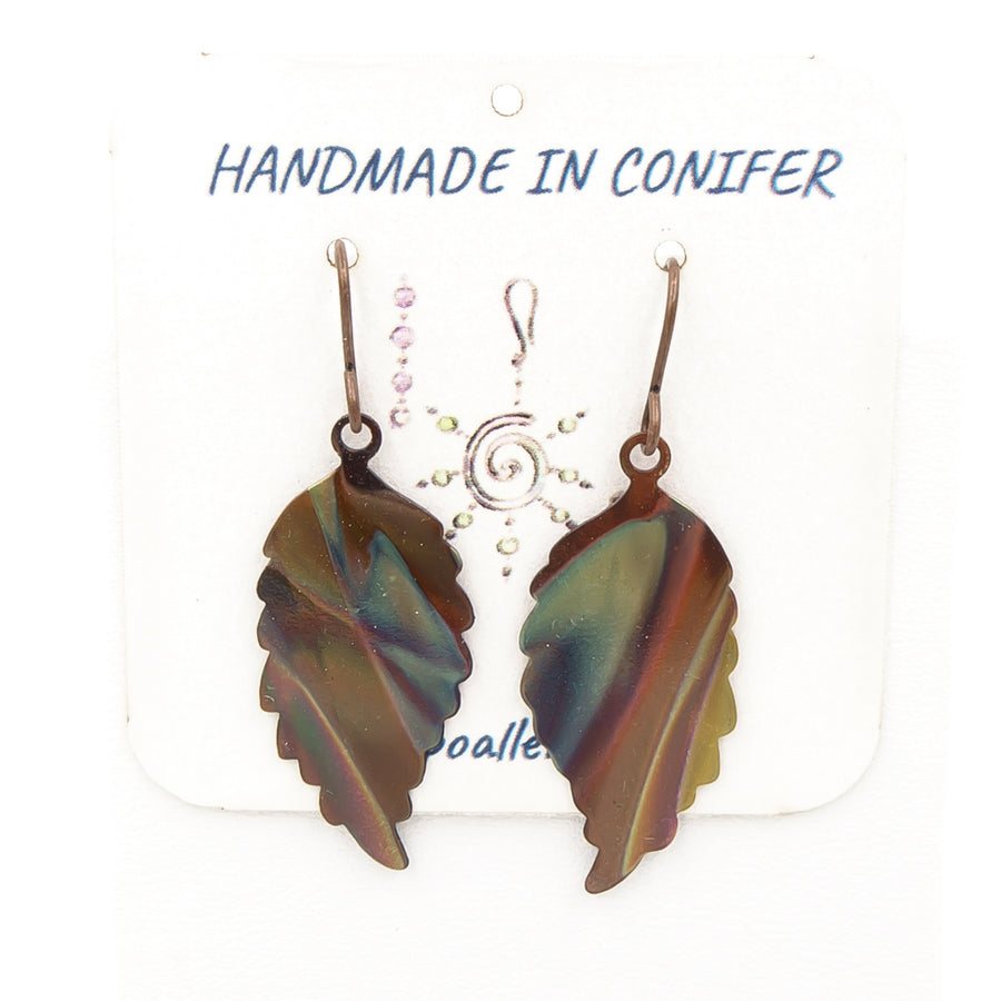 Fall Leaves Earrings - Torched Flame Copper - Handmade In Conifer, Colorado