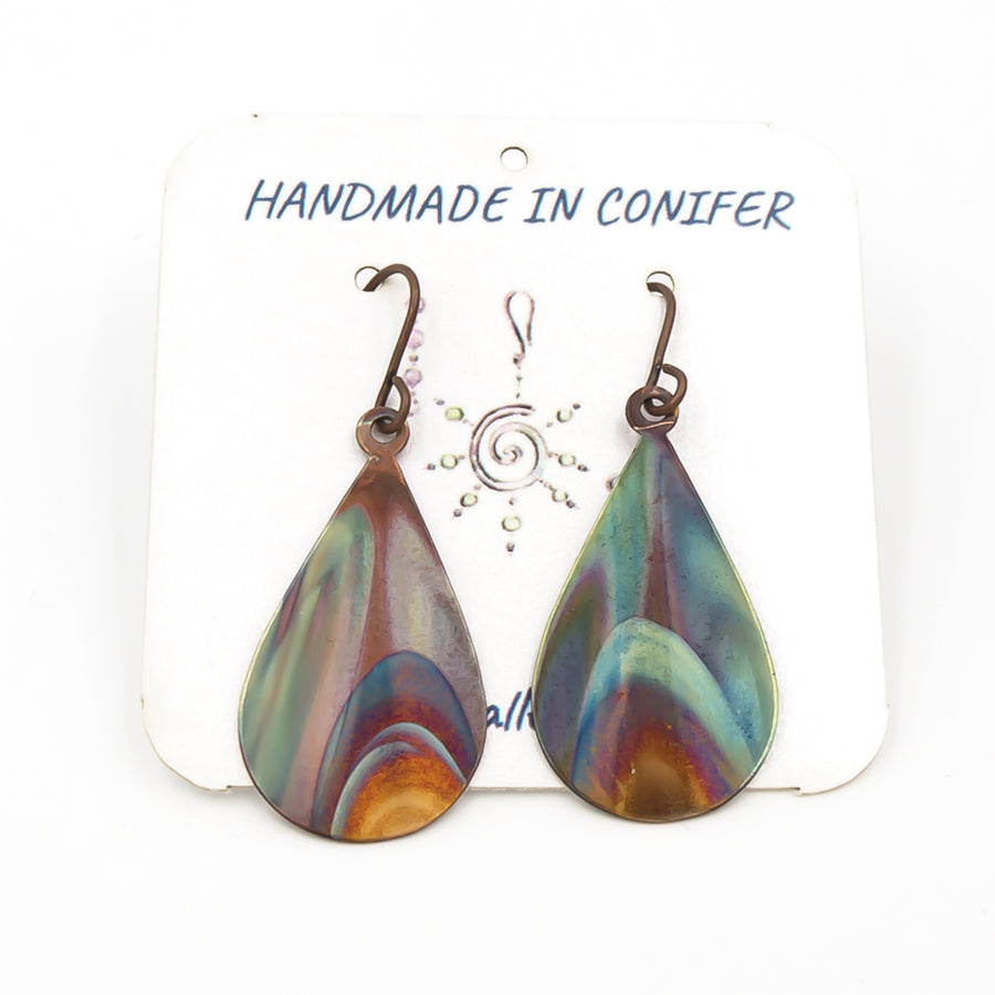 Blue Flames Copper Earrings - Handmade In Conifer, Colorado