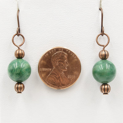 Verdite On Copper Handmade Earrings