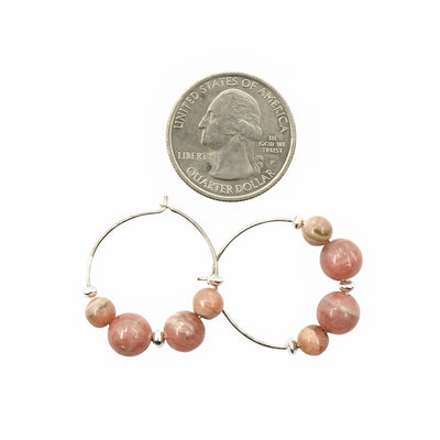 Pink Rhodochrosite Hoops Handmade Artisan Earrings Sizing