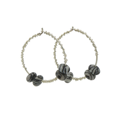 Silk Stone Sterling Silver Hoop Earrings Handmade In Conifer Jewelry