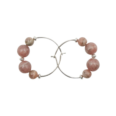 Pink Rhodochrosite Hoops Handmade Artisan Earrings