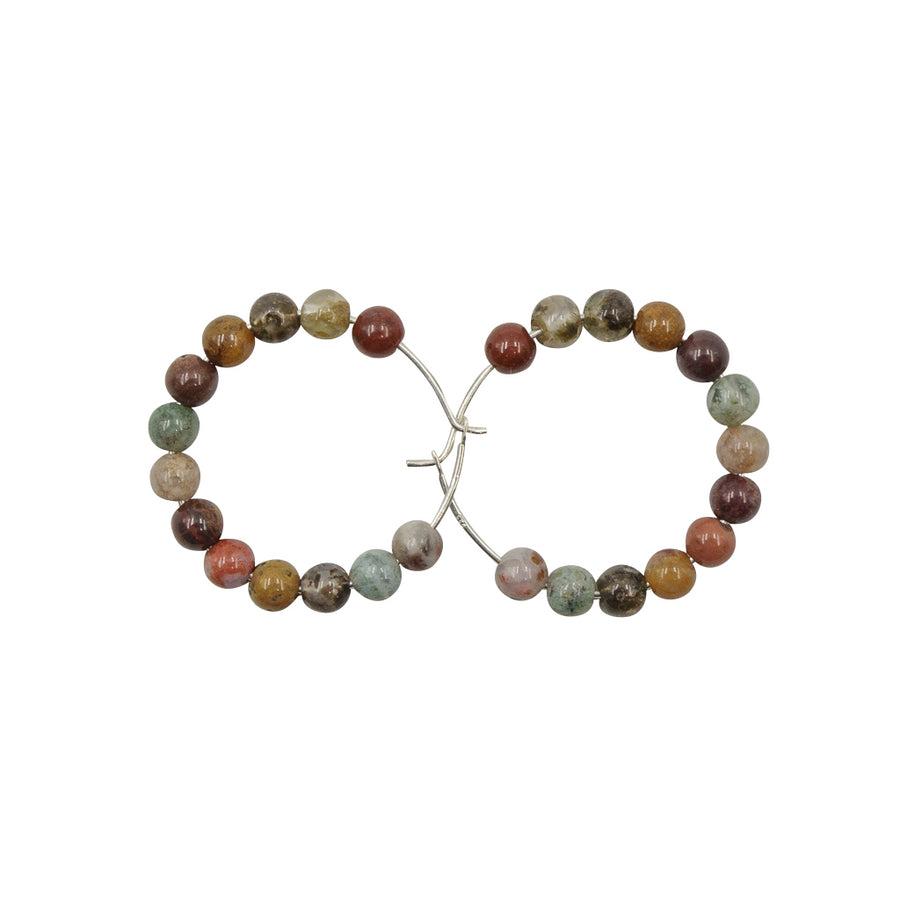 Handmade In Conifer Jewelry - Ocean Jasper Silver Hoops Earrings