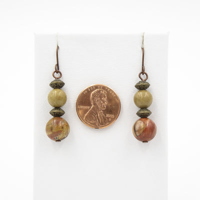 Bali Stylin' ~ Red Creek Jasper On Copper Earrings ~Handmade