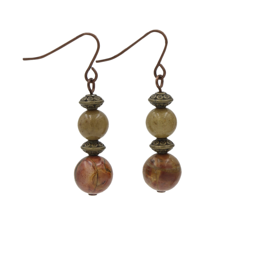 Bali Stylin' ~ Red Creek Jasper With Brass & Copper Earrings ~Handmade