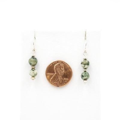 Silver Rainforest Rhyolite Earrings Handmade In Conifer Jewelry size by coin