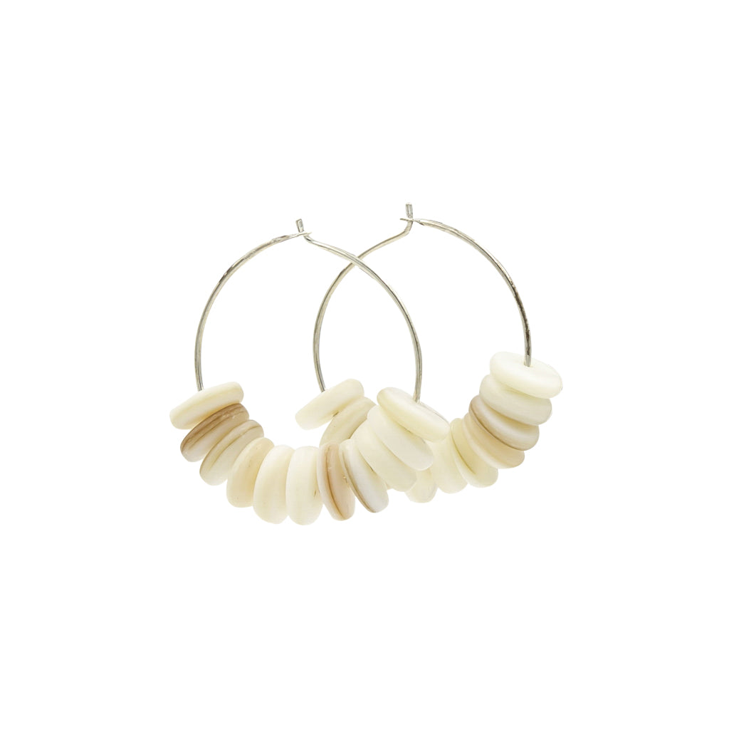Seashells By the Seashore Silver Hoop Earrings Handmade In Conifer Jewelry