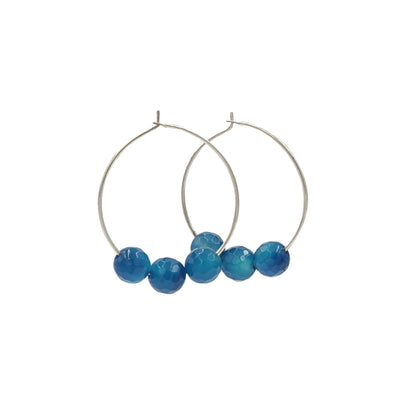 Handmade In Conifer Jewelry - Caribbean Blue Agate Silver Hoops Earrings