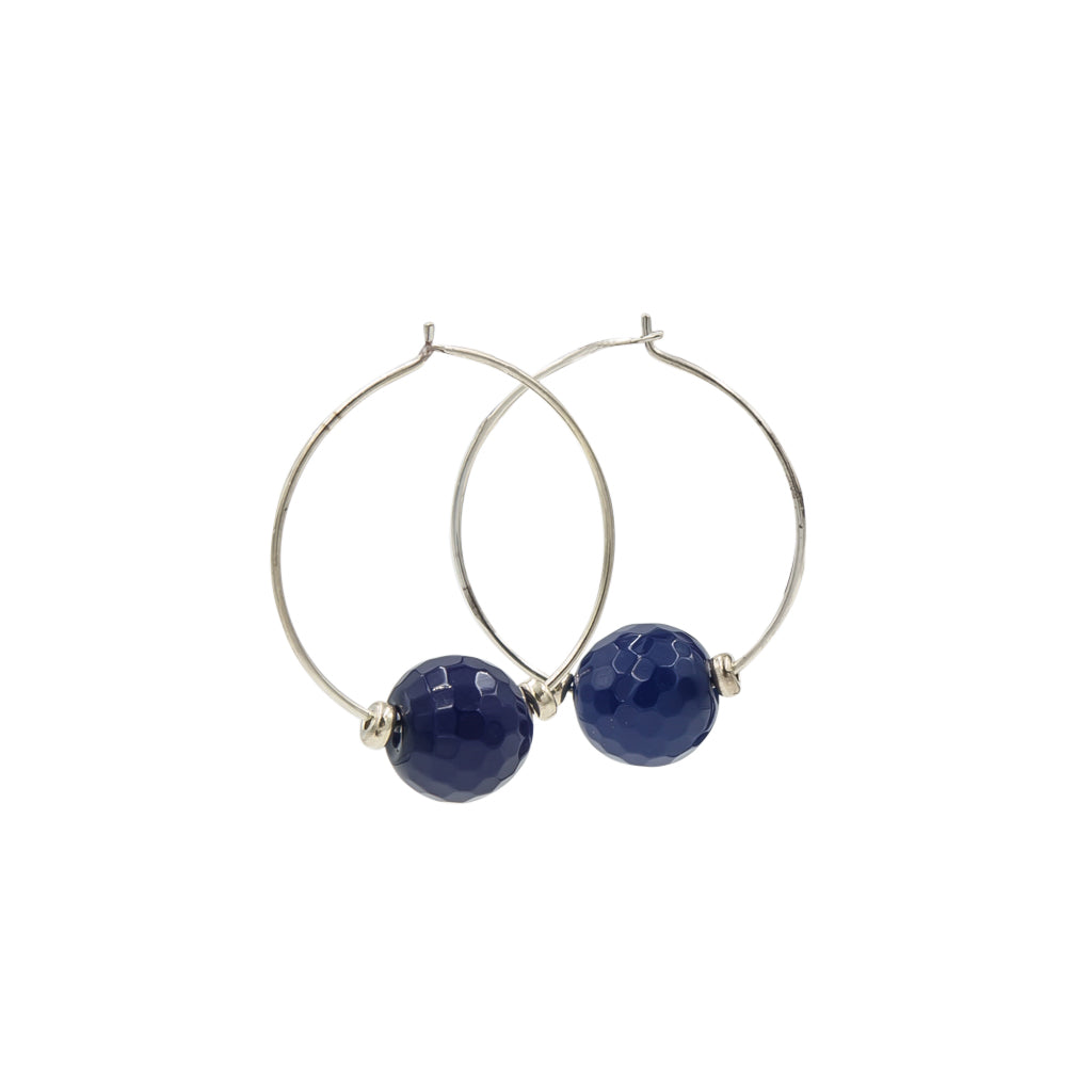 Handmade In Conifer Jewelry - Blue Agate Silver Hoops Earrings