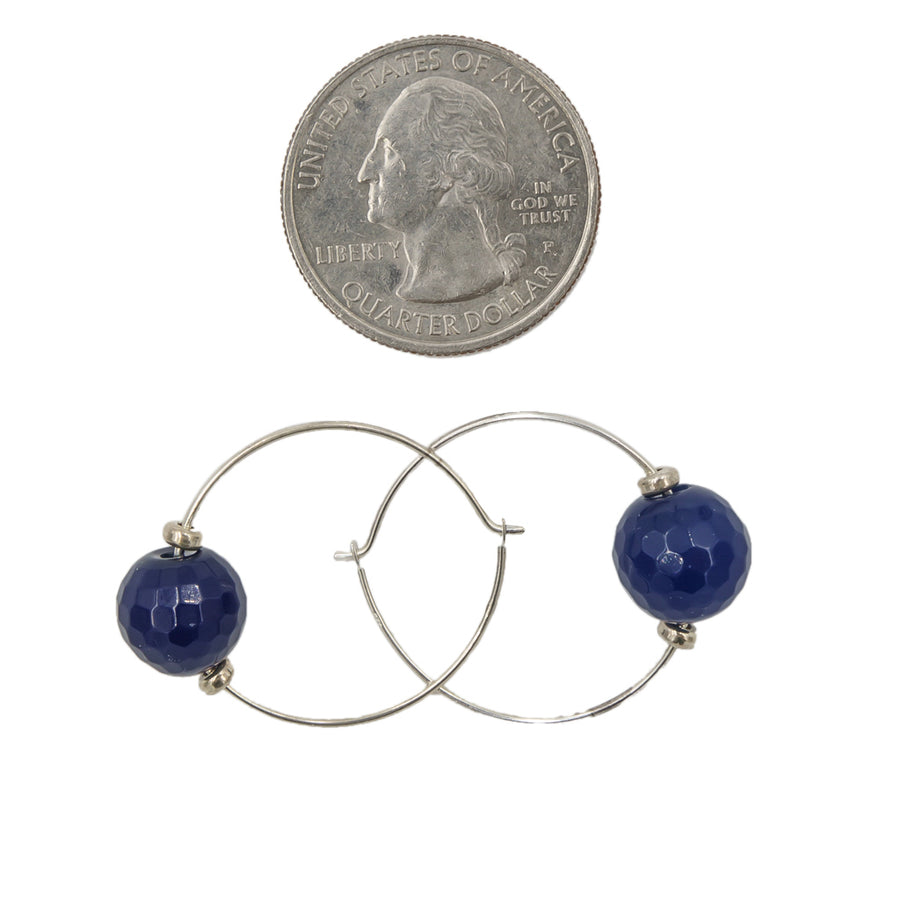 Blue Agate Hoops