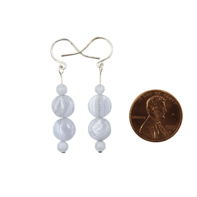Handmade In Conifer Jewelry - Blue Lace Agate Sterling Silver Earrings