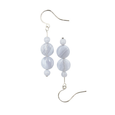 Handmade In Conifer Jewelry - Blue Lace Agate Silver Earrings