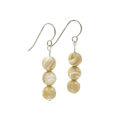 Mother Of Pearl Sterling Silver Earrings Handmade In Conifer Jewelry