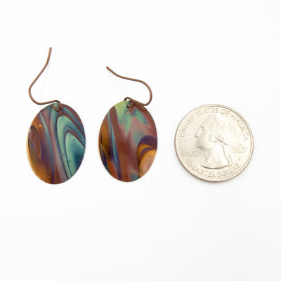 Blue Ovals Hand Torched Flame Copper Earrings size guide