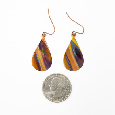 Purple Haze Hand Torched Flame Copper Earrings Size guide