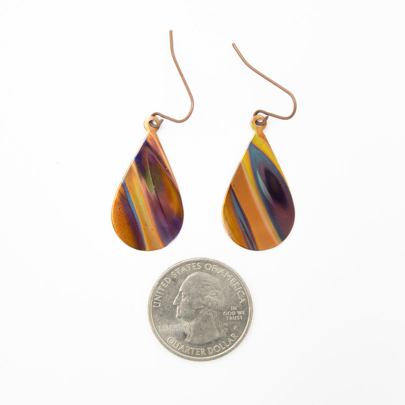 Purple Haze Hand Torched Flame Copper Earrings