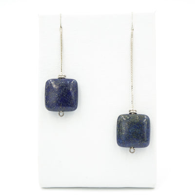 Lapis Lazuli Sterling Silver Earring Threads - Handmade In Conifer Jewelry