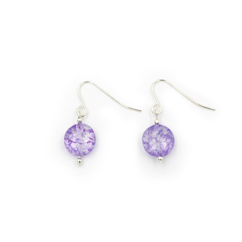 Sparkling Purple Ice Flake Quartz Handmade Silver Earrings