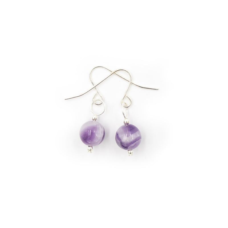 White and Purple Cape Amethyst On Silver Handmade Earrings