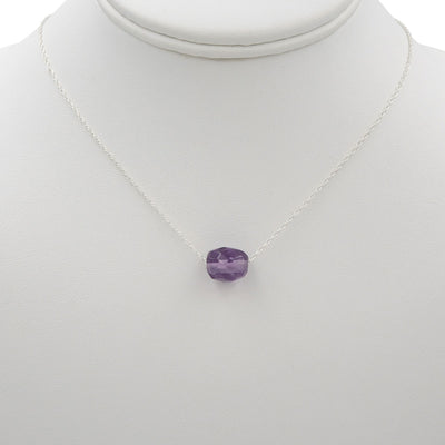 Faceted Amethyst On Sterling Silver Necklace ~ Handmade hanging