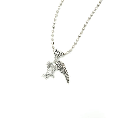 Eagle And Wing Charms On Silver Steel Ball Chain Mens Necklace Handmade