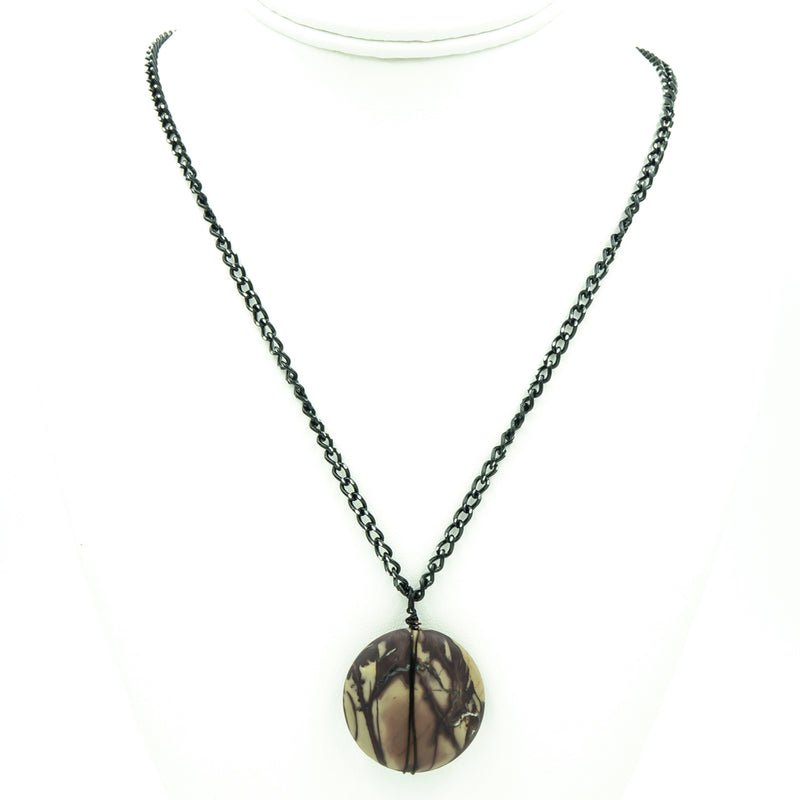 Purple Jasper Pendant On Black Chain