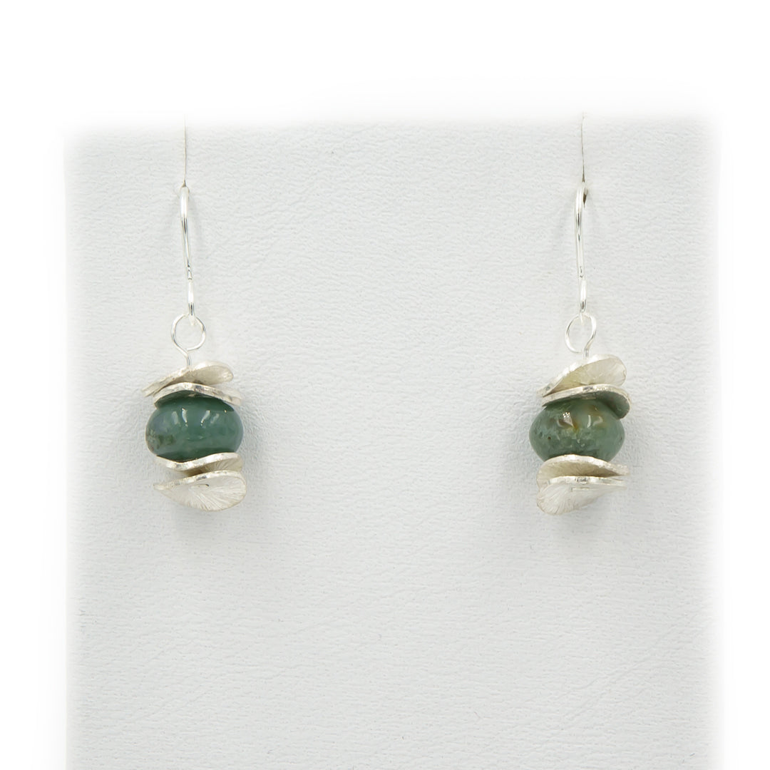 Green Jasper Pagoda Silver Earrings ~ Handmade