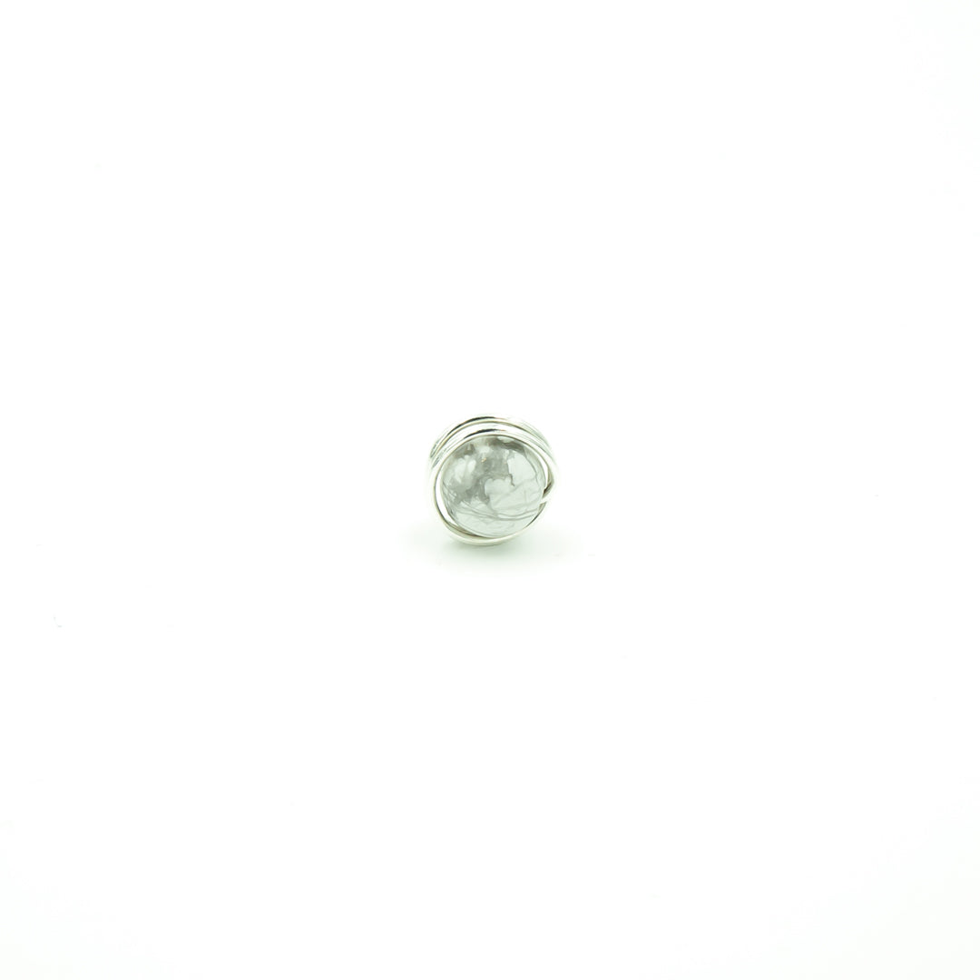 Sterling Silver Marbled Howlite Single Stud Nest