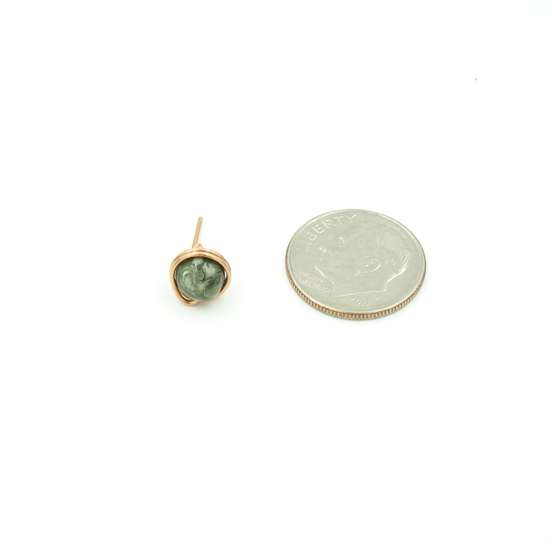 Handmade Copper Wrapped Rhyolite Single Stud Earring - Perfect For Dad