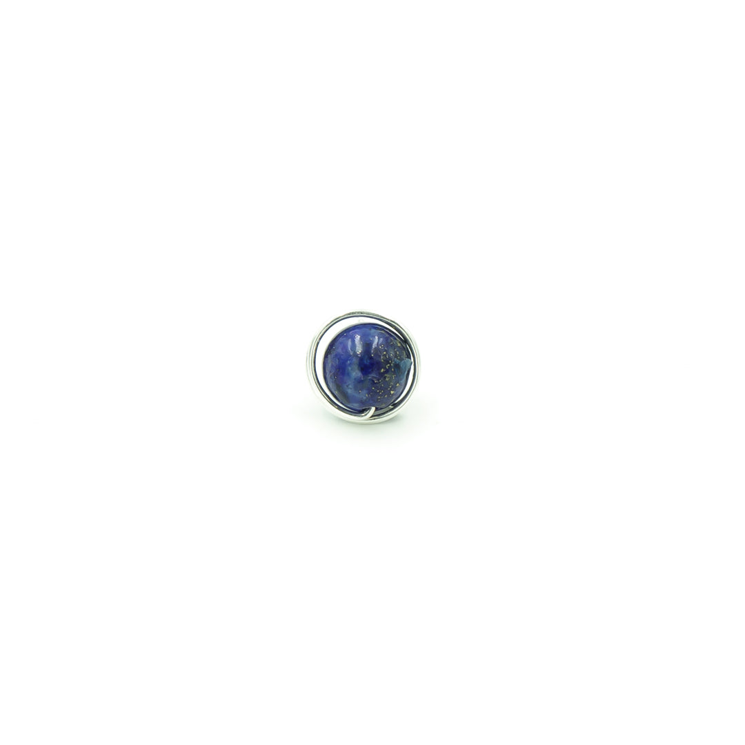 Handmade Sterling Silver Lapis Lazuli Single Stud Post Perfect For Dad