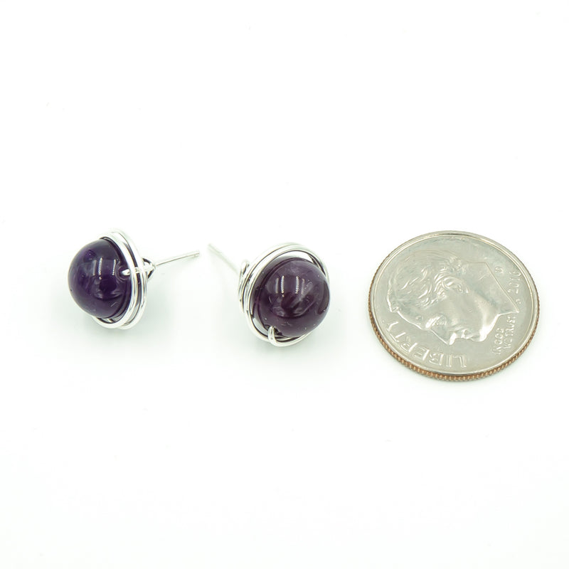 Sterling Silver Amethyst Post Earrings ~ Handmade