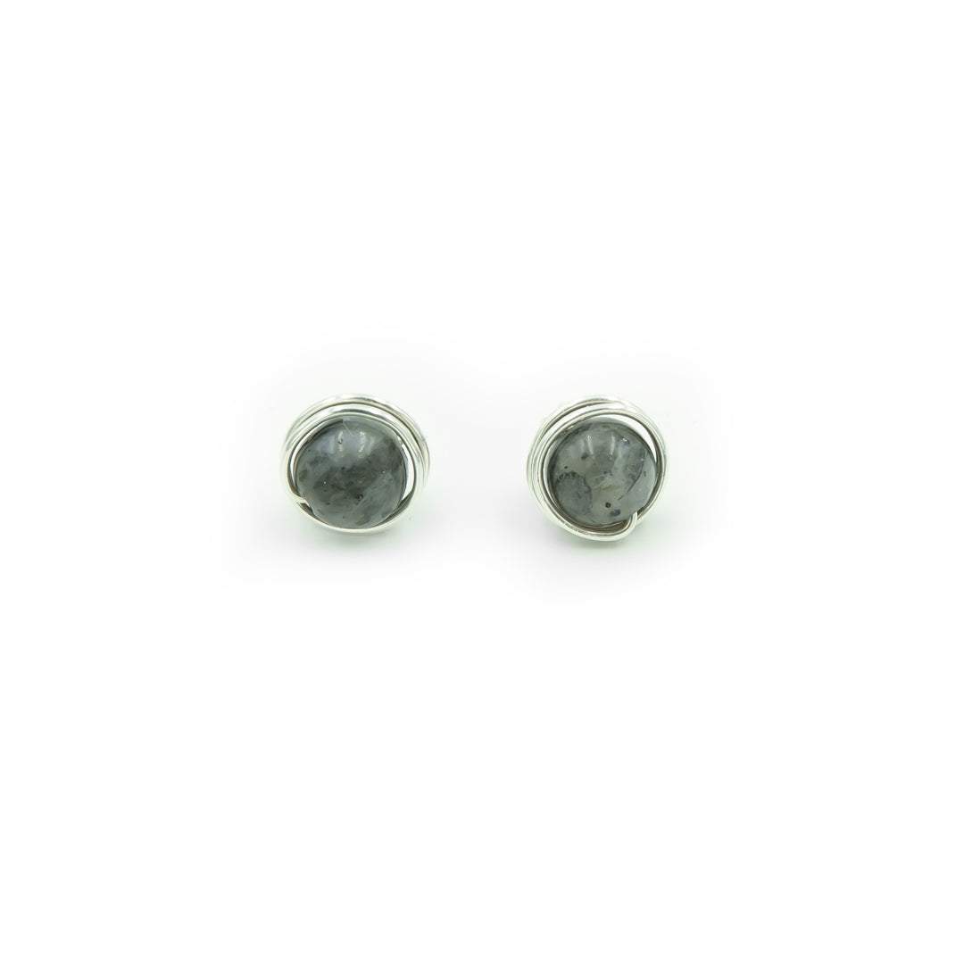 Sterling Silver Black Moonstone Larvikite Post Earrings ~ Handmade
