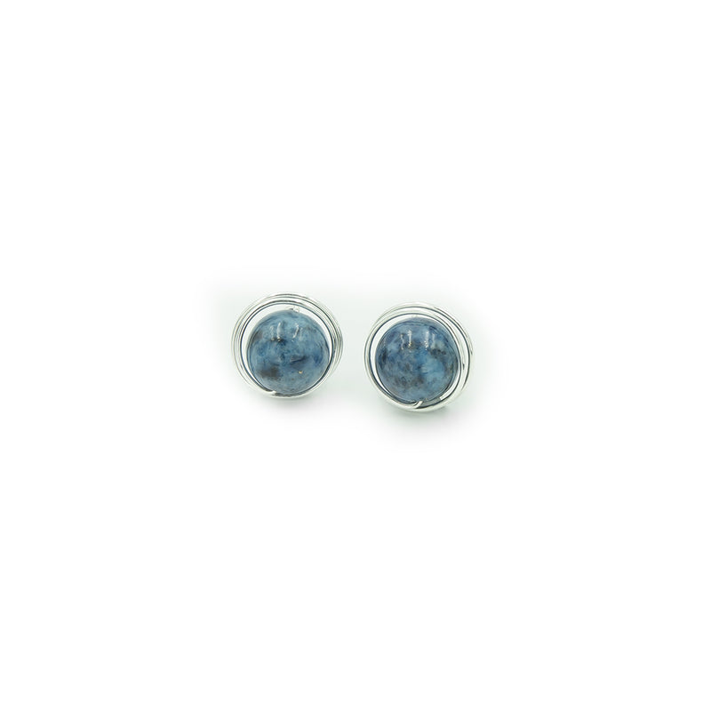 Sterling Silver Denim Lapis Post Earrings ~ Handmade