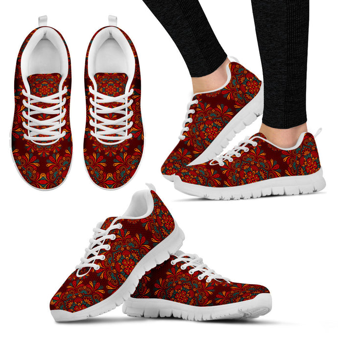 Red Mandala White Sneakers