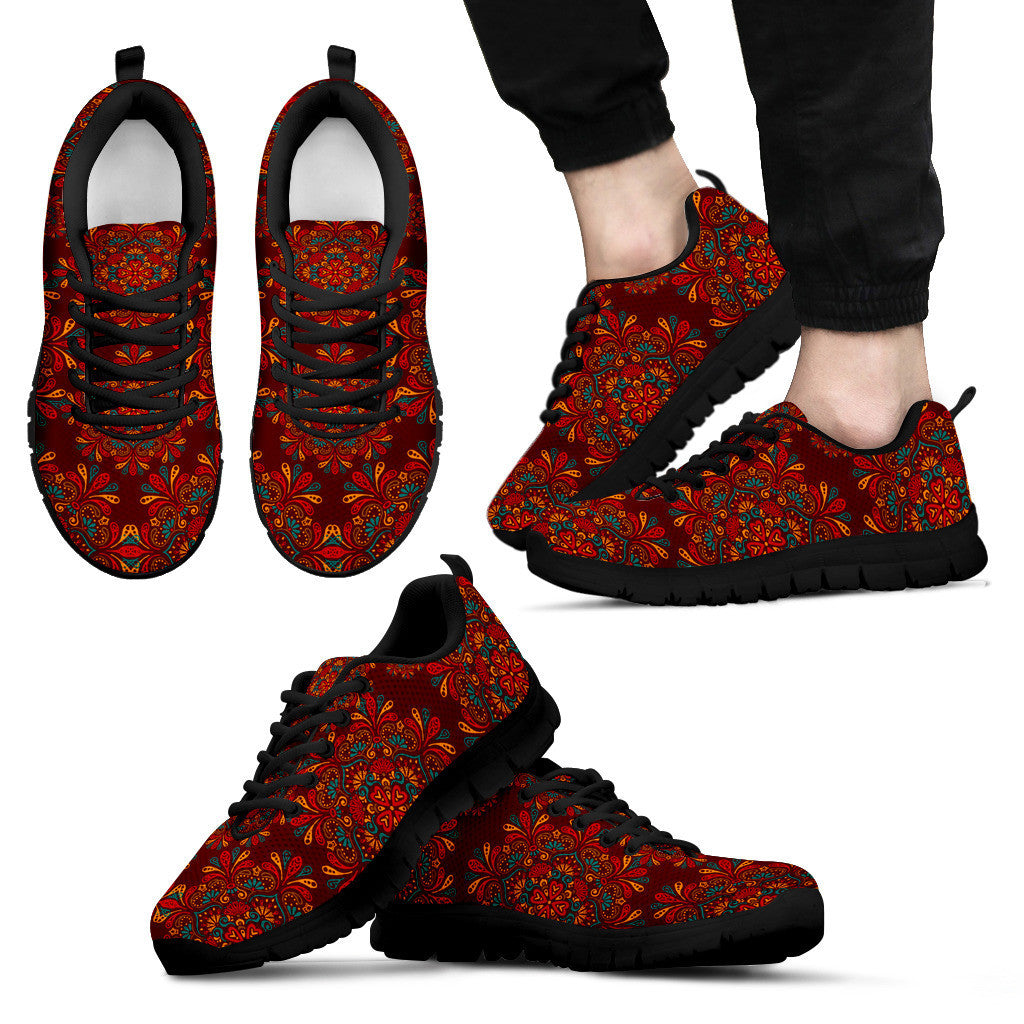 Red Mandala Black Sneakers