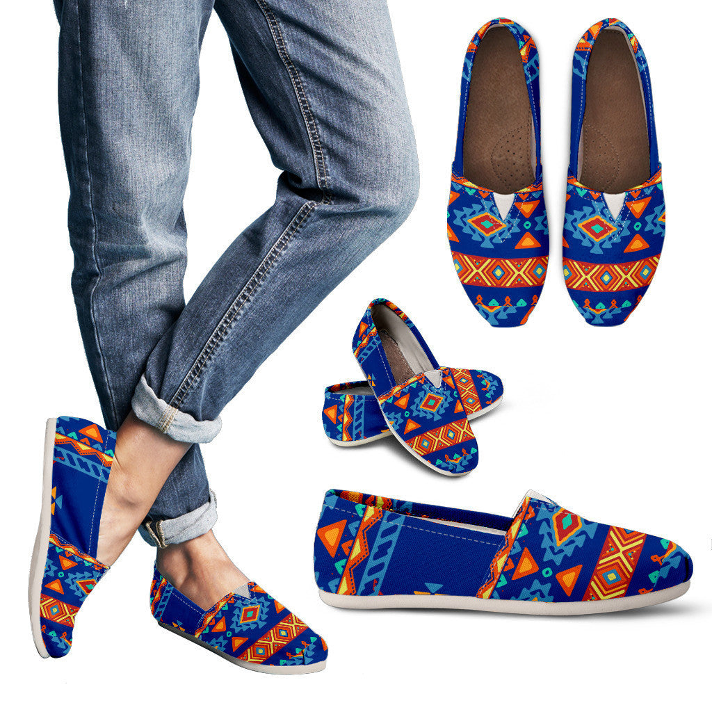 Blue Aztec Print Womens Casual Shoes