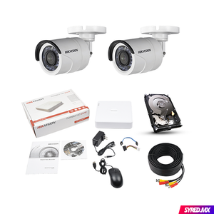 Kit CCTV HIKVISION 2 Camaras 720p Cloud Incluye Disco 1 TB Metal 720KIT2BALA02