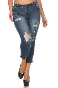 Plus Distressed Jeans