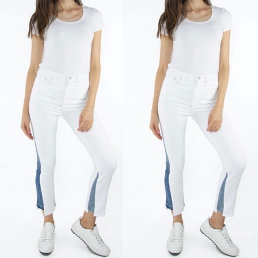 White Skinny Jeans with Indigo Inserts