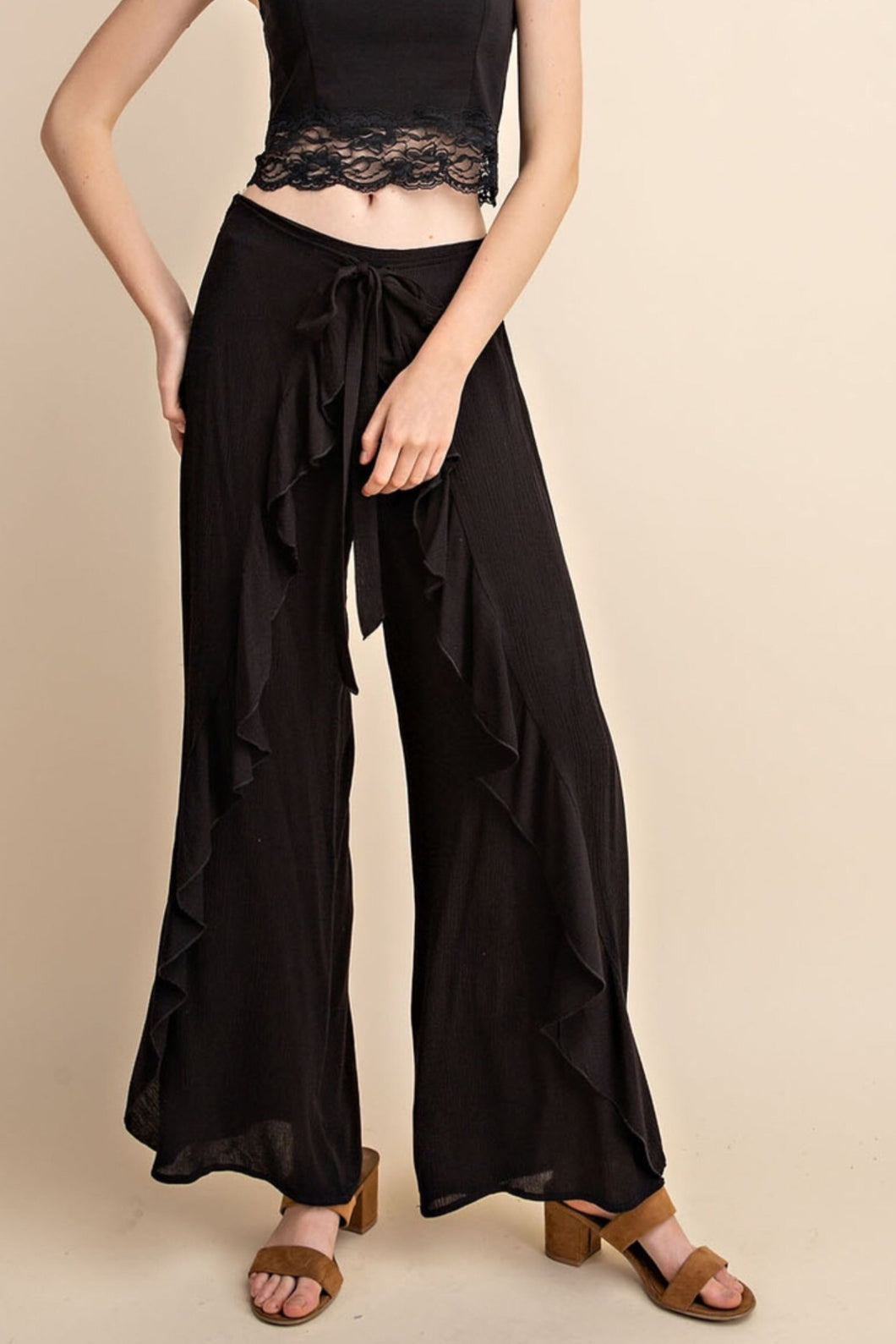 Gauze wide leg ruffle pant with tie