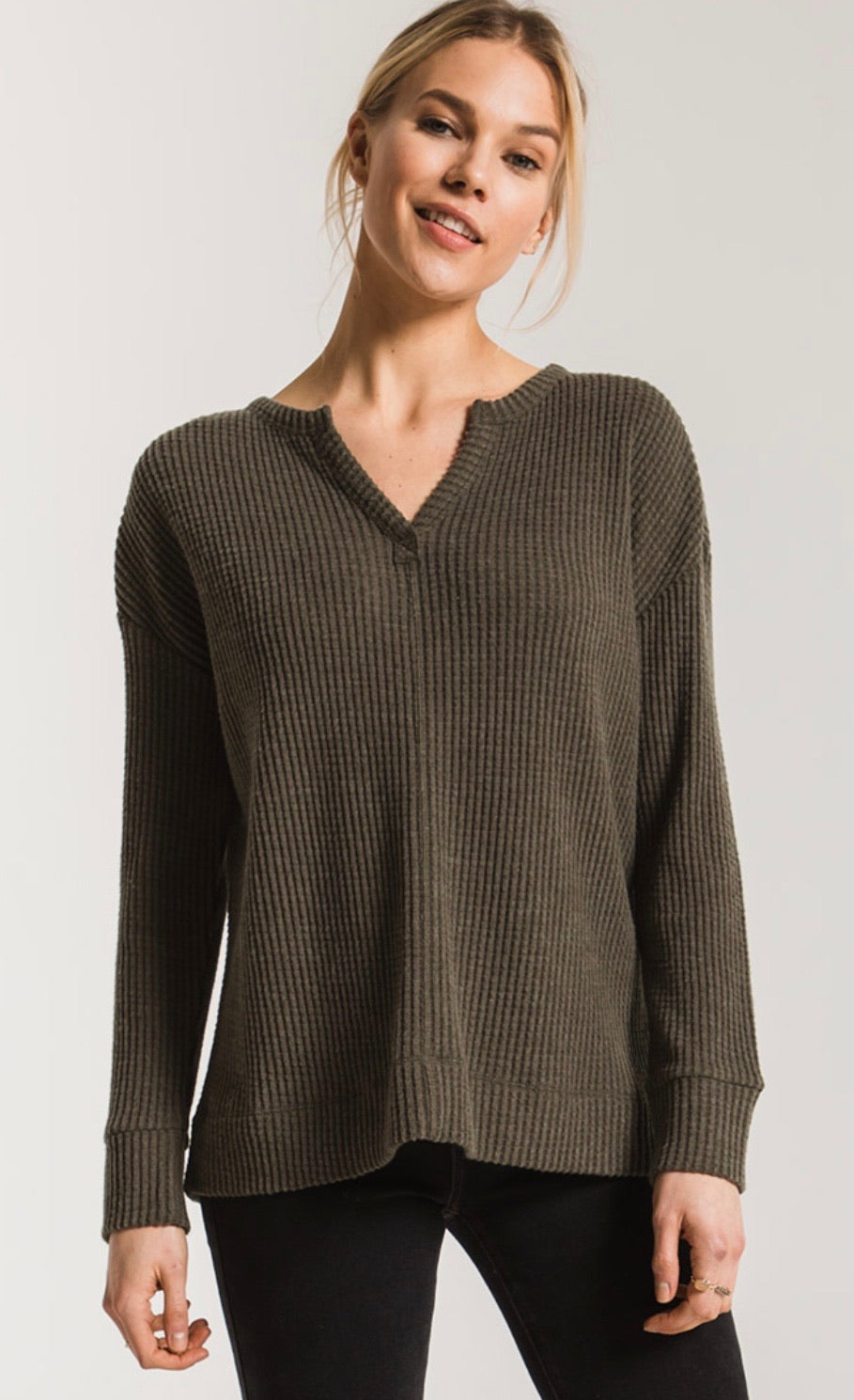 Long Sleeve Thermal top W/ Split neck